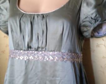Regency ball gown Jane Austen long dress teal satin gorgeous detail 8 10 lined