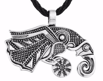 Stunning necklace of medieval stainless steel Celtic Raven, Crow of Odin, medieval bird