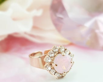 Pink Crystal Ring - Pink Opal Ring - Pink Diamond Ring - Rose Quartz Ring - Pink Rose Gold Ring for Her - Swarovski Ring Pink Stone R4008