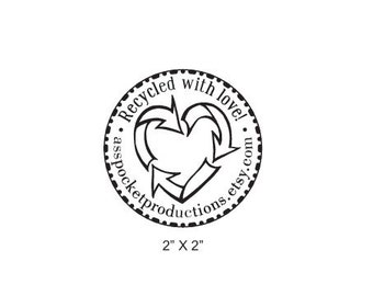 Custom Recycle Heart Recycled With Love Rubber Stamp AD150