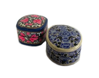 Pair of Vintage Kashmiri Paper Mache Trinket Boxes, Indian Papier Mache Box, Pink and Blue Trinket Box, Bohemian Decor, Boho Indian Decor