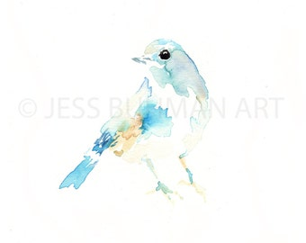 Theo  by Jessica Buhman Print of Watercolor Painting, Yellow Blue Green Bird