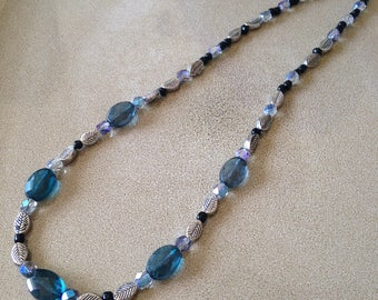 Blue crystal and silver leaf beaded necklace