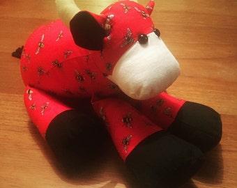 Handmade stuffed cow