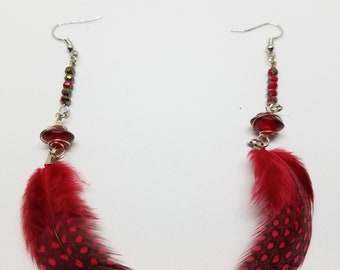 Red Guinea Feathers with small glass wired beads