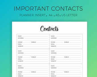 Address Book, Important Contacts, Personal Information Organizer, Organization Printable, Planner Insert, Printable Sheet, A4, A5, US Letter