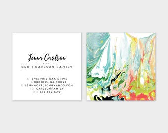 WILD Aqua Chartreuse Indigo Coral Blush Marble Calling Cards | Business Cards | Blogger Cards | Set (50)