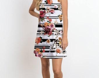Stripe Floral Printed mini dress