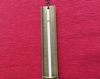 "Vintage Brass Taylor Candy and Jelly Thermometer; Rochester NY, Toronto Canada; Back Clip; Wooden Hangtag; Brass Thermometer 8 1/4"" Long"
