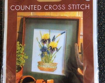 Pot of Irises Counted Cross Stitch Kit, Semco, Kit 6016.6024 new unopened Intermediate