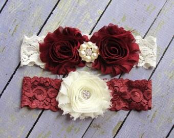 100+ Colors, Wedding Garter Belt, Garter Wedding, Deep Red Garters, Burgundy Garter, Red Garter, Custom Garter, Garter Sets
