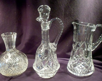 Collection 3 Cut Crystal Pieces: Carafe, Pitcher, and Decanter, All Excellent Condition