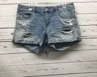 Vintage distressed blue jean denim womens shorts