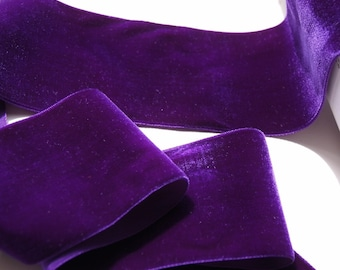 Vintage French Velvet Ribbon Trim 72mm Wide Purple By The Yard