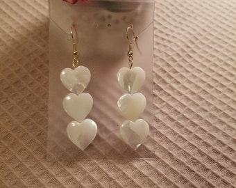 Mother of Pearl Earrings, Heart shaped earrings, hawaii jewelry, tropical earrings