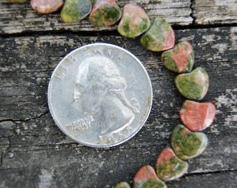 8mm Unakite Flat Heart Shaped Beads (4)