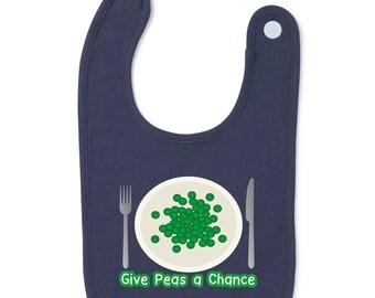 Give Peas A Chance Slogan Baby Bib Humour Gift Present Baby Shower Birthday