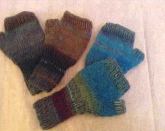 Knitted Woman Fingerless Gloves, In Brown or Teal, Variegated Wool /Acrylic Blend, 1 size fits all