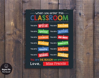 When You Enter This Classroom Rules Sign, Personalized With Name,  Teacher Gift, School Rules Wall Decor, Kindergarten Poster