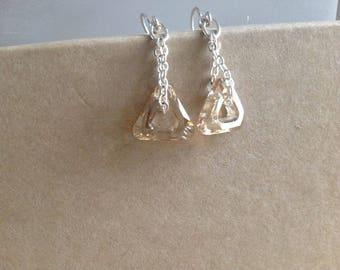 Swarovski Elements earrings, Triangle Shape, Dangle, Sterling Silver French Hook Ear Wires, Fine Jewelry