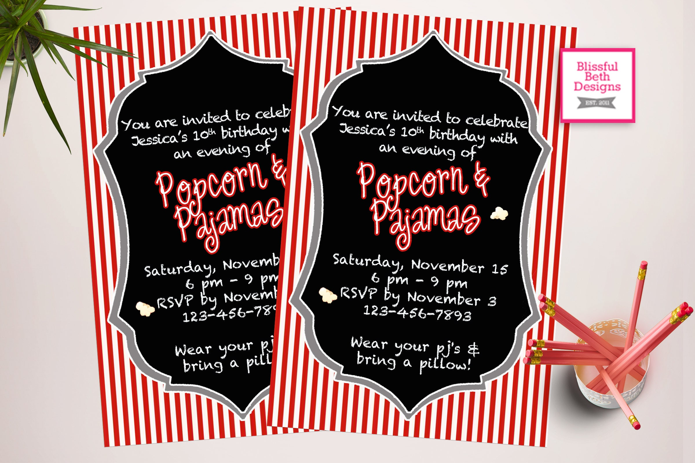 POPCORN PAJAMA INVITATION Popcorn and Pajamas, Sleep Over Invite ...