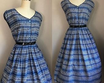 Vintage 1950's Blue snd White Cotton Tiki Print Full Skirt Dress Size Small