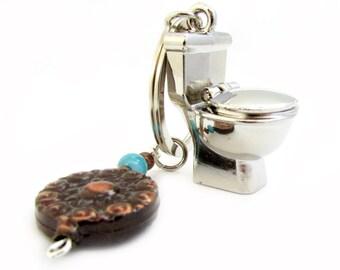 Toilet Keychain - Plumber's Gift - Boyfriend Keychain - Funny Keychain - Prank Gift for Him - Keychain for Him - Car Accessories - MK04