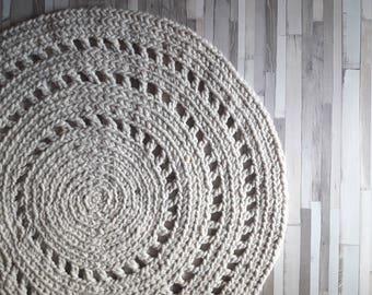 Round Crochet Rug, Wool, Reversible, Scandinavian modern Nursery Rug | Super Thick | Hand Crochet Floor Rug, Chunky Rug, Giant Crochet