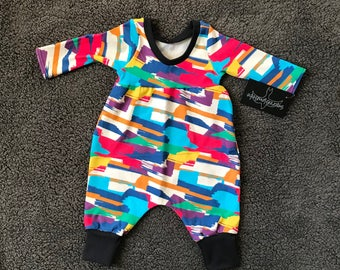 """Infant/Toddler Bubble Romper """"Painted"""" fabric"""