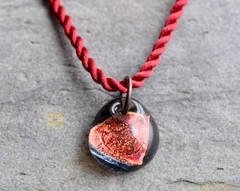 Dichroic Teeny Glass Pendant Boro Lampwork on Braided Satin Cord - Red