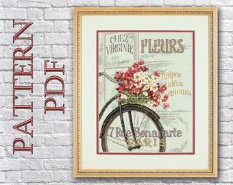 cross stitch pattern PDF - bike with flowers, Parisian Bicycle, flowers in the basket, Paris, vintage bike
