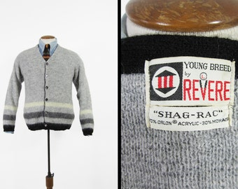 Vintage 60s Mohair Sweater Grey Shag Wool Striped Knit Cardigan Revere - Medium