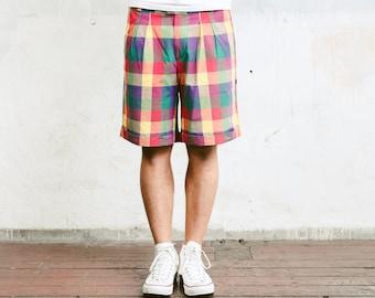 80s Mens Check Print Shorts . Vintage Bermuda Shorts Rainbow Plaid Short Pants Surfer Shorts Vintage Vacation Shorts . size Extra Large XL