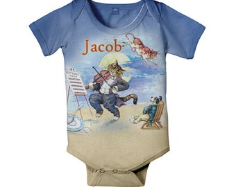 Hey Diddle-Diddle Baby Bodysuit, Personalized Cat N Fiddle, Boy's One Piece, Onepiece Baby Boy Clothing