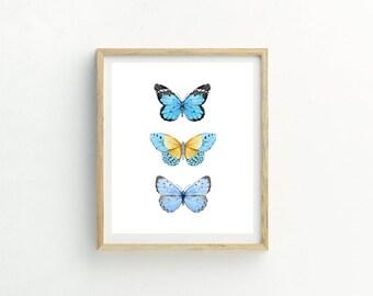 Blue Butterfly Print | Butterfly Nursery Print | Butterfly Painting | Butterfly Wall Art | Bestselling Print | Butterfly Watercolor | Art