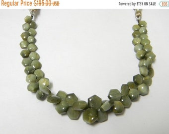 8 inch strand -- 6 - 10 mm approx-- Fine Quality Green Cats Eye Smooth Hexagon Briolettes