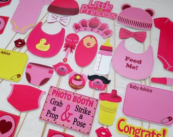 PDF - Girl Baby Shower Photo Booth Props - PRINTABLE Photobooth DIY