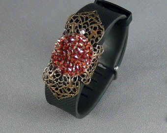 Fit Bit Slide, Jewelry - Swarovski Red Magma Rocks Crystal, Natural Brass Clover Petal Filigree, Wrapped  - Hand Crafted Artisan Jewelry