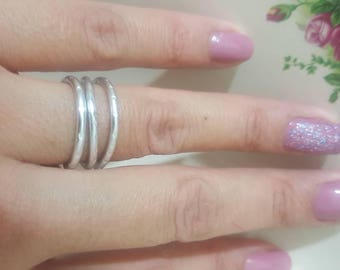 Silver Hammered Classic Ring for Women or for Men