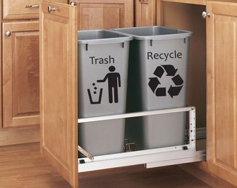 Trash and Recycle Can Vinyl Decal Set - Kitchen Decor Vinyl Decal 2 pc. Set