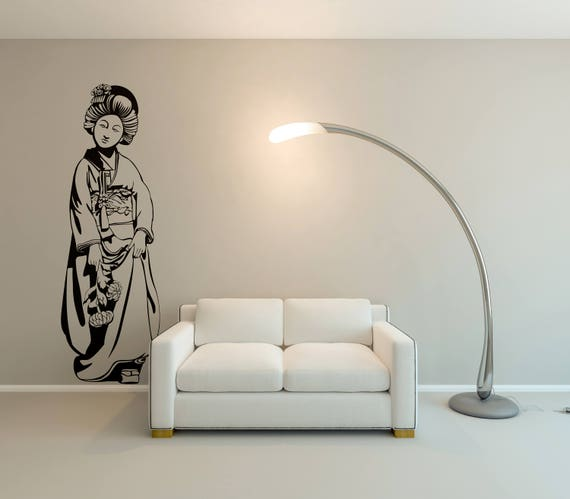 Traditional Geisha Woman with flowers in her hand - Geisha Woman in Feudal Japan, Interior Vinyl Decal / Sticker for wall decor, Samurai