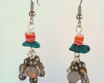 SALE! Dark Silver Turquoise and Orange Dangle Earrings