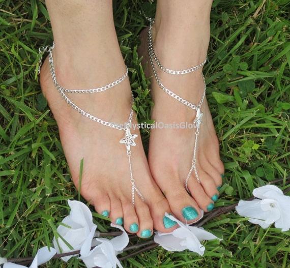 foot beach Starfish jewelry beach Wedding Sandals anklet bridal starfish barefoot chain Barefoot sandals FittedPAIR sandal wedding jewelry BPZqzP