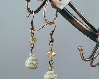 A  Dangle Hook Earrings, White and Gold Earrings Champain Crystal Beads Earring, Handmade earrings Free Gift with Purchase