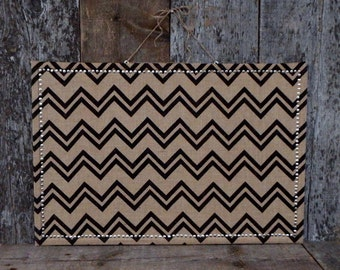 SET: Chevron Burlap Covered Large Cork Board - Large Pin Board  - Large Message Board - Bulletin Board - Pushpin Set