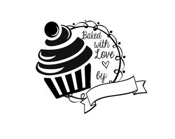 Baked with love by rubber stamp cute cupcake great for bakers and chefs