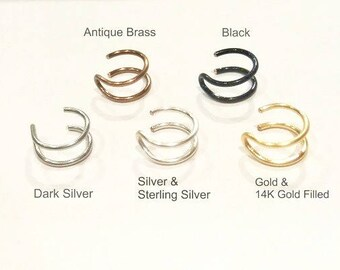 Double Silver Plated Nose Ring, Gold,Silver,Black,Antique Brass Fake Nose Ring No Piercing.HIGH quality SILVER PLATED wire(Non Tarnish)