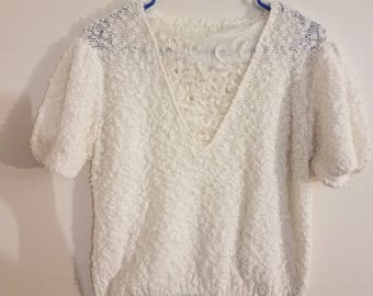 Crochet White Ribbon Top