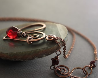 Heart copper necklace with red Czech glass teardrop on chain with a beaded decorative hook clasp - Romance necklace - Heart pendant - NK020