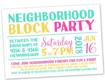 Block party invite Etsy